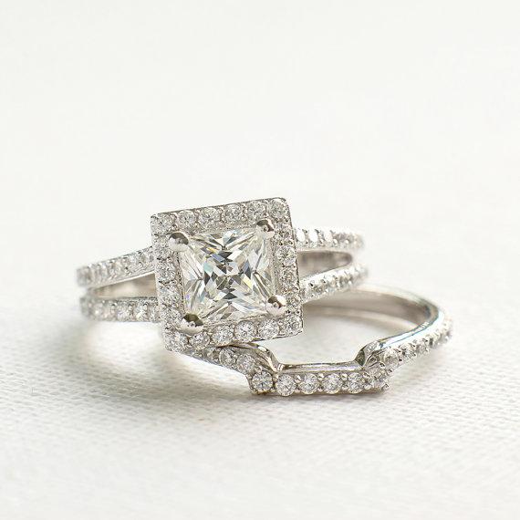 Split Shank Princess Cut Halo Diamond Engagement Wedding Ring Set 925 Sterling Silver