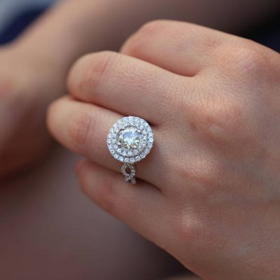 Twisted Round Cut Double Halo Fancy Diamond Engagement Ring 925 Sterling Silver