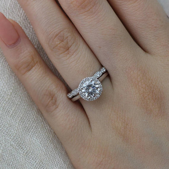 Simple Round Cut Diamond Engagement Band Ring Set 925 Sterling Silver