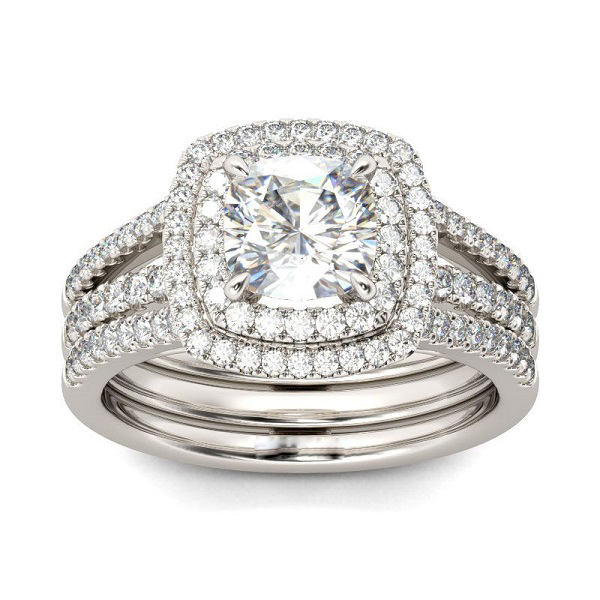 1.90CT Cushion Cut Diamond Engagement & Different Wedding Band Ring 925 Sterling Silver