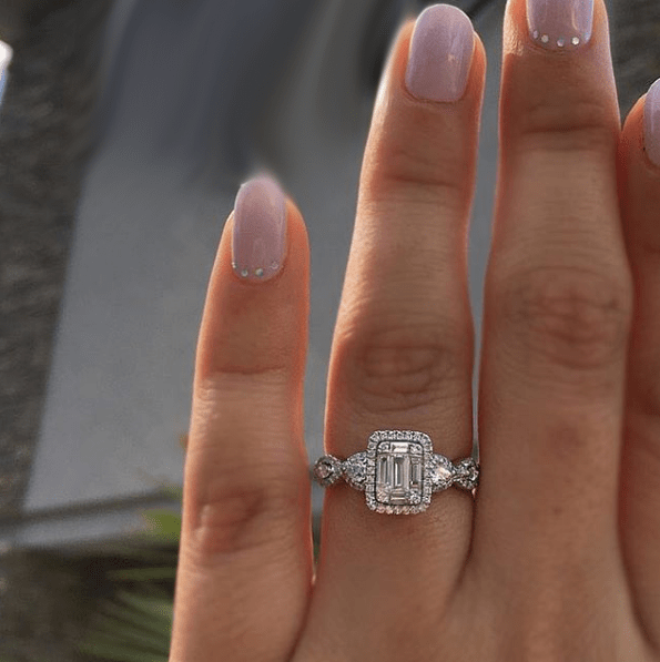 Twisted Shape Emerald Cut Halo Diamond Wedding & Promise Ring 925 Sterling Silver