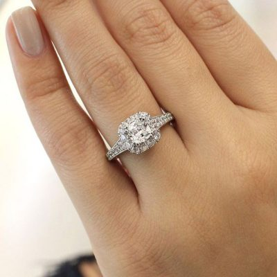 Certified 1.85Ct Micro Pave Round Halo Diamond Engagement Gift Ring 925 Sterling Silver