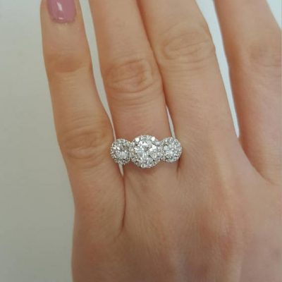 3.34CT Natural 3 Stone Round Cut Halo Diamond Wedding & Propose Ring 925 Sterling Silver