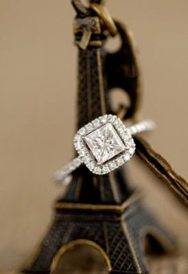 Fancy & Simple Princess Cut Halo Diamond Engagement Dream Ring 925 Sterling Silver