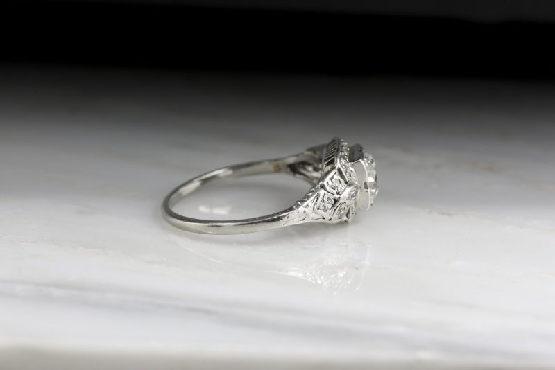 Vintage Round Cut Diamond Floral Flower Engagement Ring 925 Sterling Silver