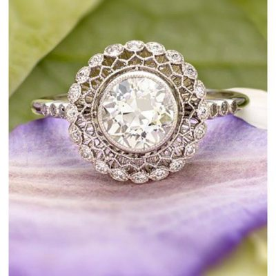 Art Deco Bezel Round Cut Diamond Floral Flower Engagement Ring 925 Sterling Silver