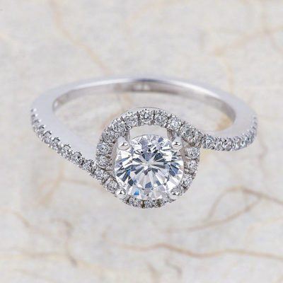Simple Round Cut Diamond Beautiful Engagement Promise Ring 925 Sterling Silver