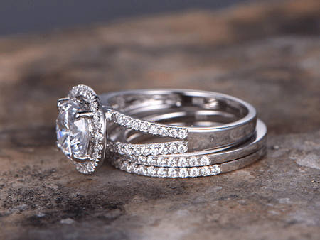 1.45Ct Solitaire Round Moissanite Bridal Wedding Ring Sets 925 Sterling Silver