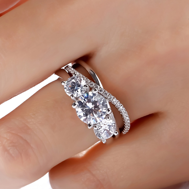 3Stone 2.75CT Round Cut Diamond Engagement Ring Set 925 Sterling Silver