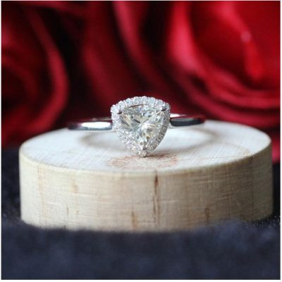 Trillion Cut Diamond Engagement & Wedding Ring 925 Sterling Silver