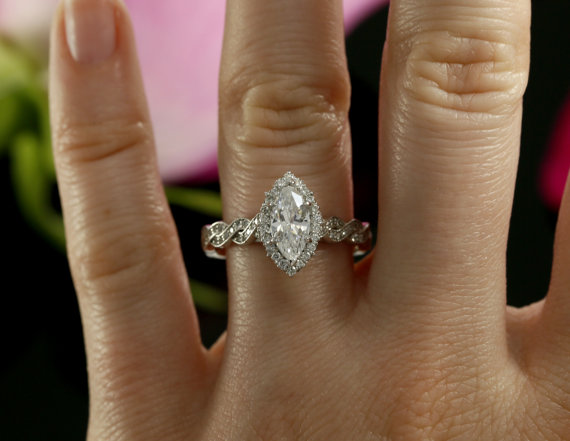 Fancy Marquise Cut Diamond Engagement & Twisted Promise Ring 925 sterling Silver