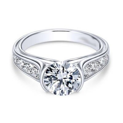 1.50Ct Round Moissanite Half Bezel Engagement Wedding Ring 925 Sterling Silver