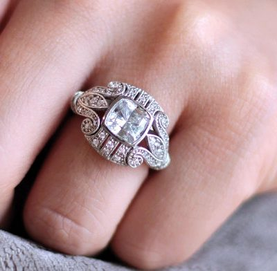 Art Deco Bezel Cushion Cut Diamond Bridal Wedding Anniversary Ring 925 Sterling Silver