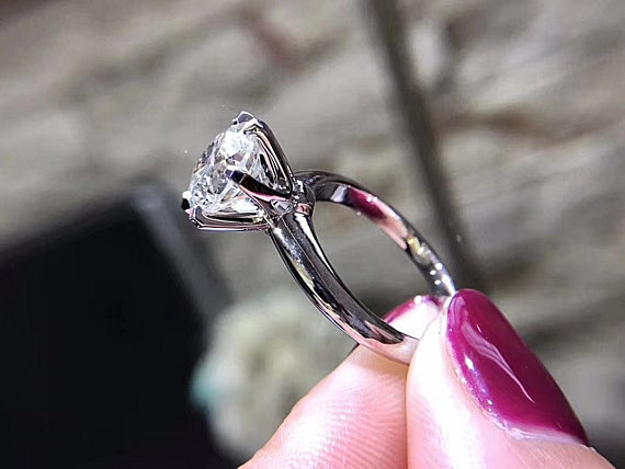 1.5Ct Round Moissanite 925 Sterling Silver Solitaire Propose & Engagement Ring