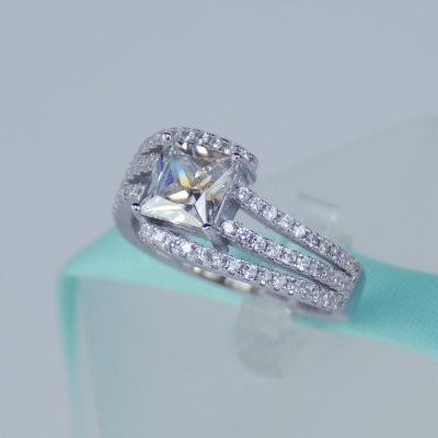 2.37 Ct Unique Princess Cut Diamond Engagement, Wedding & Anniversary Ring 925 Sterling Silver