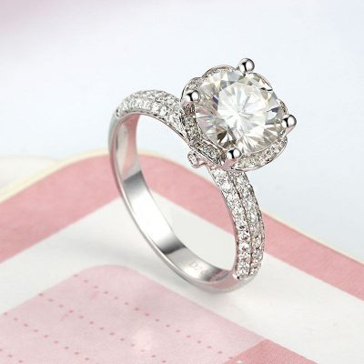 1.60Ct Round Brilliant Moissanite Engagement Ring Lotus Flower 925 Silver