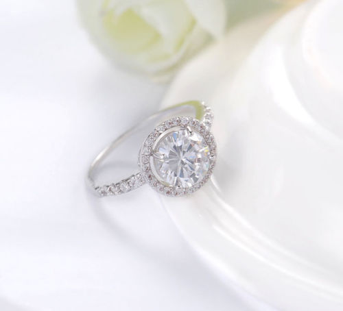 1.30Ct Round Off White Moissanite Engagement Anniversary Ring 925 Sterling Silver