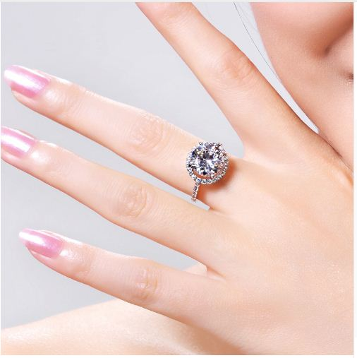 Round Cut Halo Diamond Engagement & Propose Ring 925 Sterling Silver
