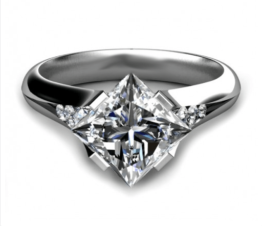 2.25Ct Bezel Princess Cut Diamond Princess Engagement Anniversary Ring 925 Sterling Silver