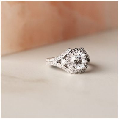 1.55Ct Solitaire Round Moissanite Bridal Wedding Ring 925 Sterling Silver