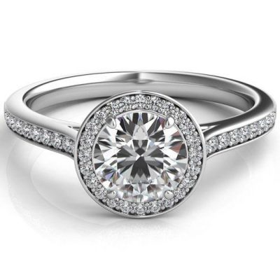 1.51Ct Near White Moissanite Solitaire Halo Engagement Ring 925 Sterling Silver