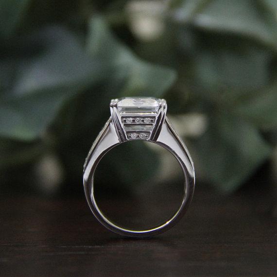 Antique 2.86Ct Emerald Cut diamond Engagement & Beautiful Bridal Wedding Ring 925 sterling Silver