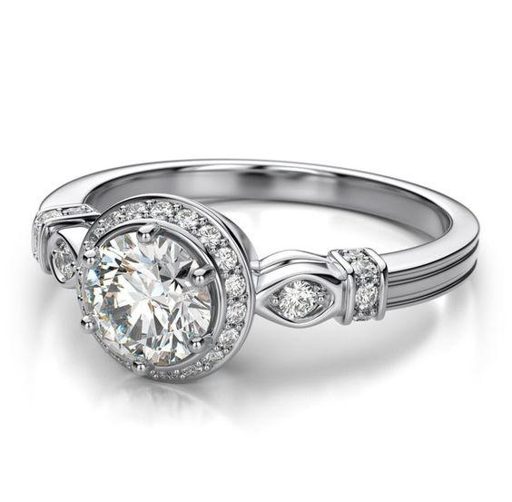 1.25Ct Forever Round Moissanite Classic Halo Engagement Ring Real 925 Sterling Silver