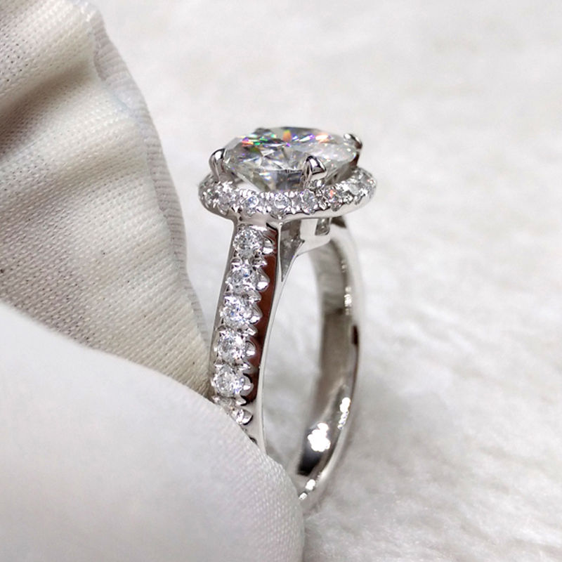 1.90Ct Brilliant Cut  Moissanite Solitaire Engagement Wedding Ring 925 Silver