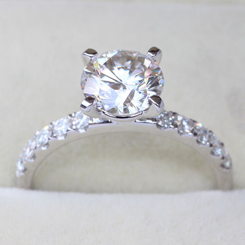 1.40Ct Real White Moissanite Solitaire Engagement Ring 925 Sterling Silver