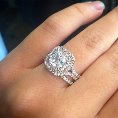 Cushion Cut Diamond Beautiful Bridal Wedding Band Ring Set 925 Sterling Silver 1.87CT