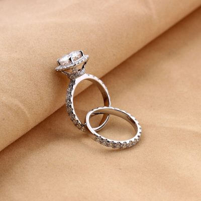 1.40Ct Brilliant Cut Moissanite Solitaire Engagement Ring Set 925 Sterling Silver