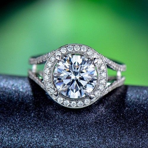 1.40Ct Split Shank Round Cut Moissanite Halo Engagement Wedding Ring 925 Silver