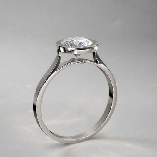 1.30Ct Simple Bezel Round Moissanite Classic Engagement Ring 925 Sterling Silver