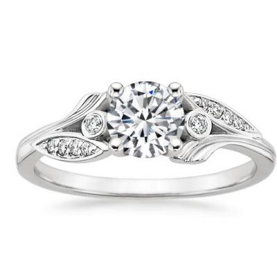Natural Leaf Design 1.32Ct Real White Round Moissanite Engagement Wedding Ring Silver
