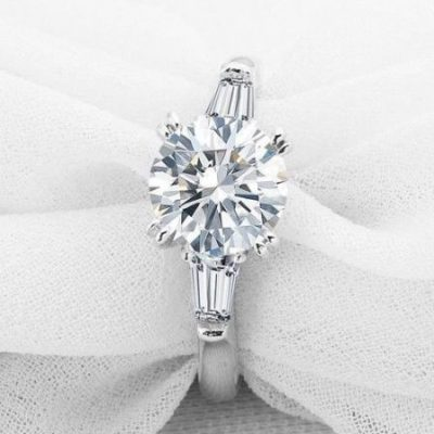 1.55Ct Brilliant Cut Moissanite Side Stone Engagement Ring 925 Sterling Silver
