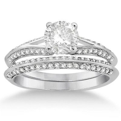1.00Ct Excellent Cut Moissanite Luxury Engagement Ring Wedding Set 925 Sterling Silver