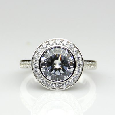Round 1.8ct Near White Moissanite Antique Art Deco Halo Engagement Ring 925 Sterling Silver