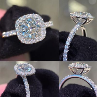 1.35Ct Round Moissanite Halo Brilliant Engagement Ring 925 Sterling Silver