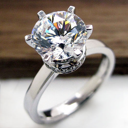 1.50Ct Off White Round Moissanite Engagement & Propose Ring 925 Sterling Silver
