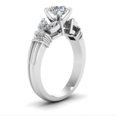 Brilliant Side Marquise Cut Diamond Engagement Ring 925 Sterling Silver