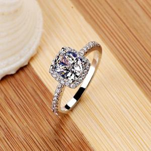 Cushion Cut Halo Diamond Engagement Ring 925 Sterling Silver