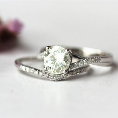 1.20Ct Real White Moissanite Solitaire Wedding Anniversary Ring Set 925 Sterling Silver