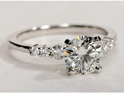1.80Ct Solitaire White Moissanite 7 Stone Engagement & Wedding Solid Ring 925 Sterling Silver