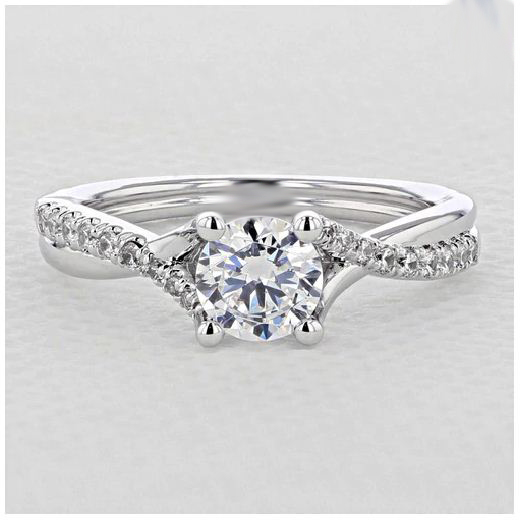 1.20Ct Forever Real White Round Moissanite Micro-Prong Twist Best Engagement Ring 925 Silver