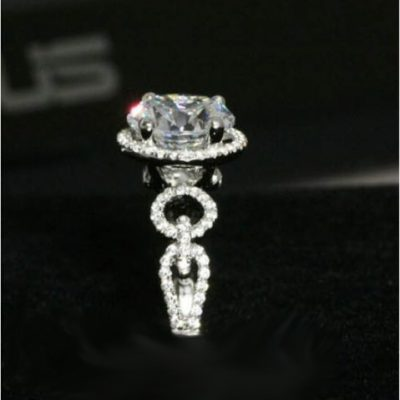 Fancy 1.60Ct Round Cut Moissanite Halo Engagement Wedding Ring 925 Sterling Silver