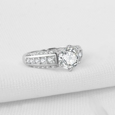 1.35Ct Unique Round Moissanite Solitaire Engagement Wedding Ring 925 Silver