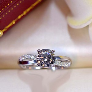 Twisted Solitaire Round Cut Diamond Engagement Ring 925 Sterling Silver