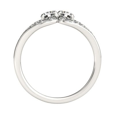 1.45Ct Two Stone Split Shank Round Moissanite Best Engagement Ring 925 Sterling Silver
