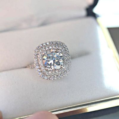 Double Halo Off White Round Moissanite 1.15Ct Bridal Engagement Wedding Ring 925 Sterling Silver