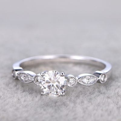 1.05Ct Vintage Off White Brilliant Moissanite Engagement & Propose Solid Ring 925 Sterling Silver